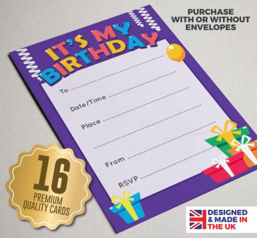 16 A6 Little Kids Birthday Party Invitations-filles//garçons-cadeaux//CADEAUX