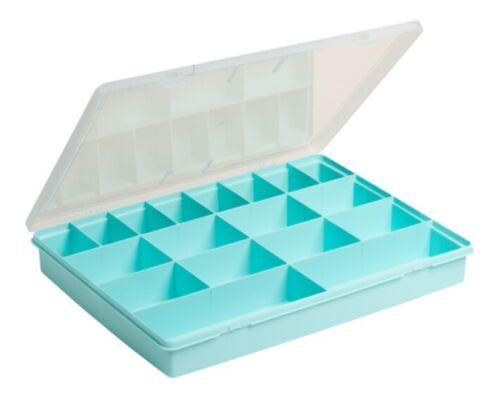 blau//transparent 380 x 300 x 50 mm WHAM 12905 Sortierkasten mit 18 Fächer