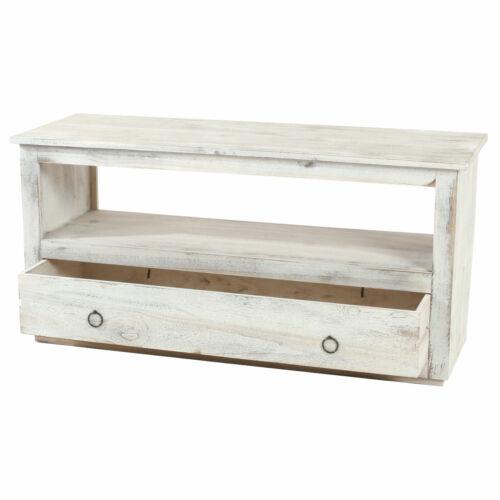 shabby-Look vintage blanc Tv-rack fernsehtisch lowboard tv étagère