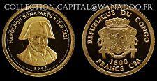Rép Congo 1500Francs CFA 2007 Napoléon Bonaparte BE Gold 999°/00 avec certificat