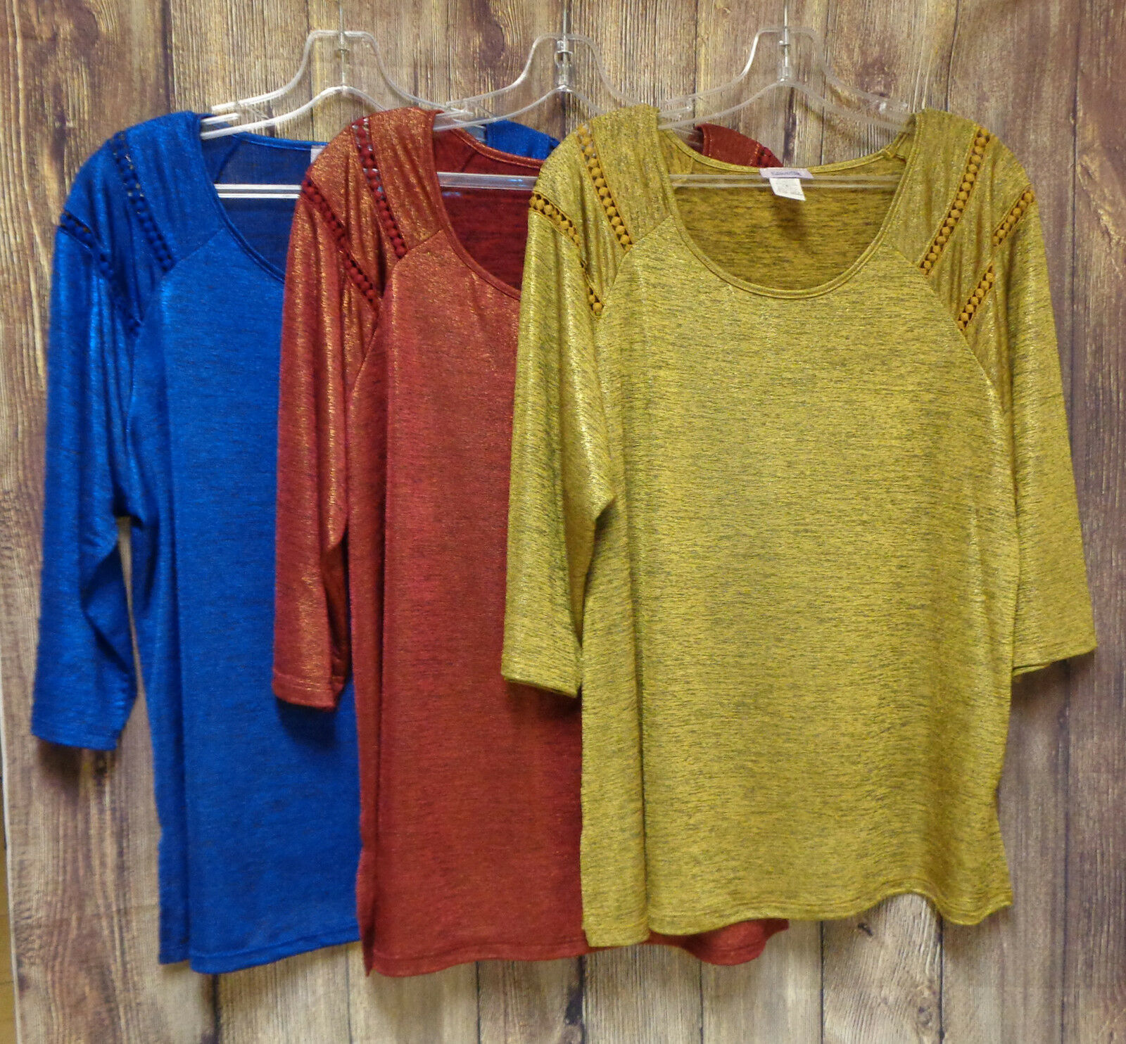 Shimmering Metallic Tops Choice Color & Size 1XL 2XL 3X