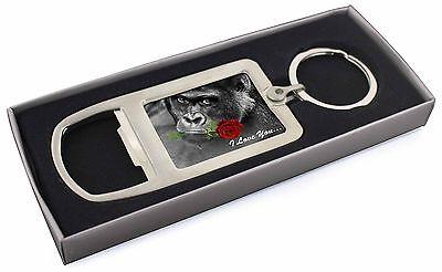 """Obbediente """"i Love You"""" Gorilla Con Una Rosa Rossa Apribottiglie In Metallo Cromato Keyri, Am -19 Rmbo- Avere Uno Stile Nazionale Unico"""