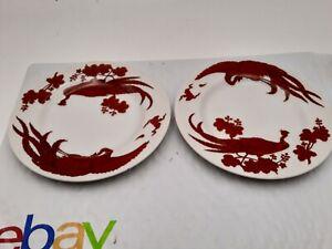 VTG PAIR NEIMAN MARCUS FINE CHINA RED PEKING PEACOCK SALAD BREAD PLATES 6 1/2