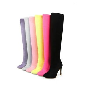 Women-039-s-Elastic-Over-Knee-Thigh-High-Boots-Candy-Colour-Heels-Shoes-UK-Size-O300
