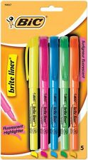 BIC Brite Liner Highlighters Chisel Tip Colors 5 Count