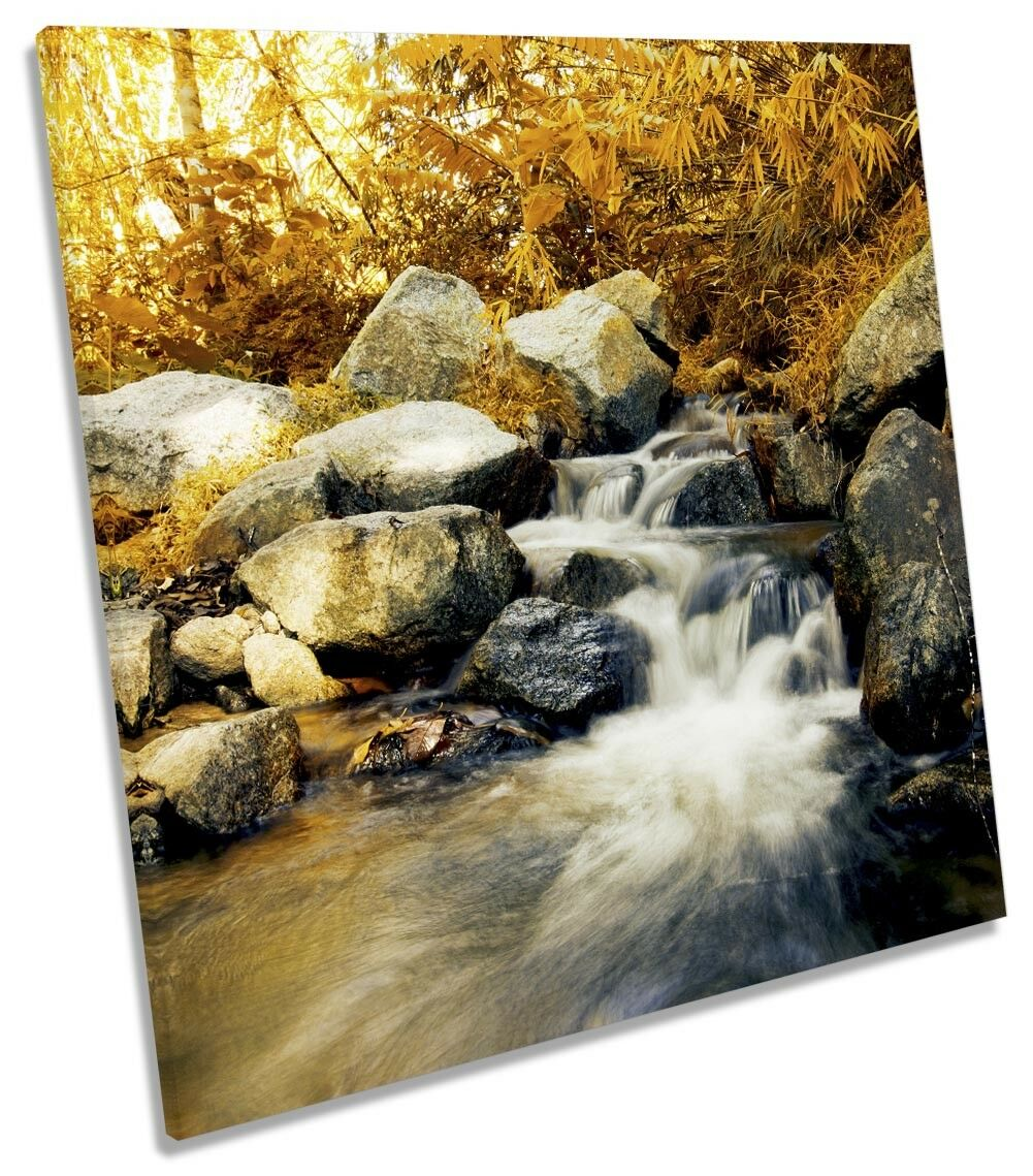 Forest Stream Orange Picture CANVAS WALL ART Square Print