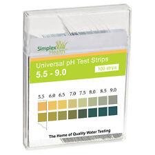 pH Test Strips Range 5.5-9.0 (100 Strips) by Simplex Health | Alkaline Water