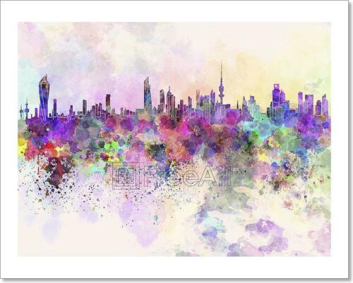 Kuwait City Skyline In Watercolor Art Print Home Decor Wall Art Poster C