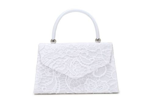 STYLISH HANDBAG WITH LACE DESIGN IDEAL EVENING WEAR OR PROM ETC,