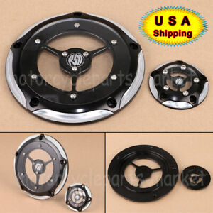 Bid4ze Black Edge Cut Derby Timing Timer Copre Per Harley 1999-2014 Twin Cam Touring Road King Electra Glide FLHR FLHX FXST Dyna Softail