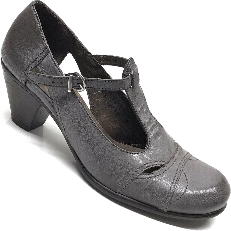 a477196ec7ae0 FIDJI Womens Heels Leather Mary Mary Mary Jane T Strap Buckle Heel ...