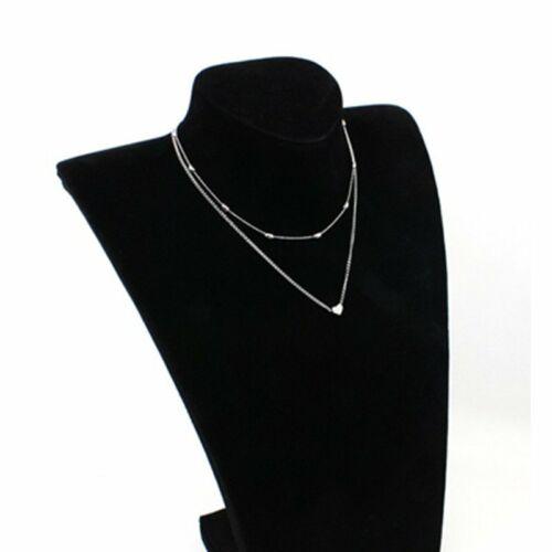 Fashion Simple Double Layers Heart Pendant Necklace Choker Chain Women Jewelry