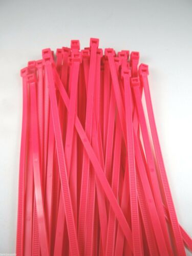 """CABLE TIES WIRE TIES FLUORESCENT PINK NYLON 7/""""  LOT OF 100 NEW MADE IN USA"""