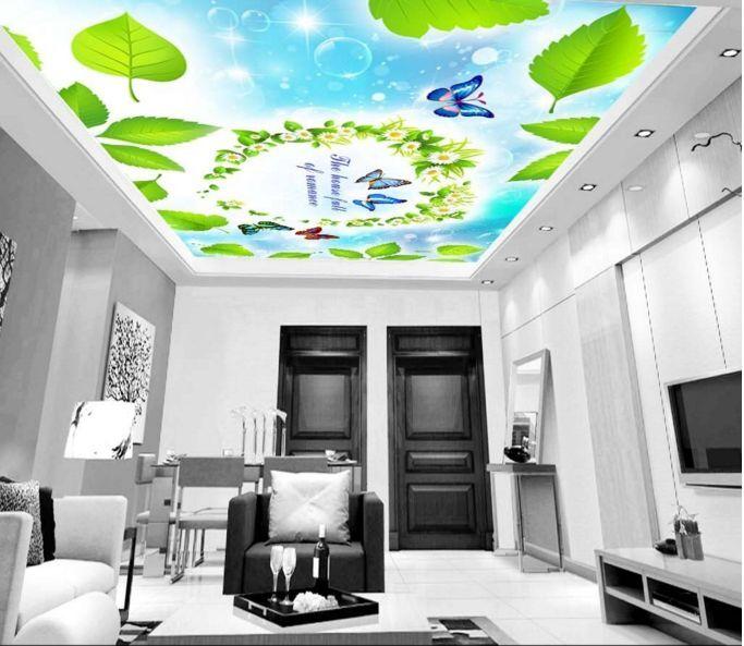 3D Butterfly Leaf Ceiling WallPaper Murals Wall Print Decal Deco AJ WALLPAPER GB