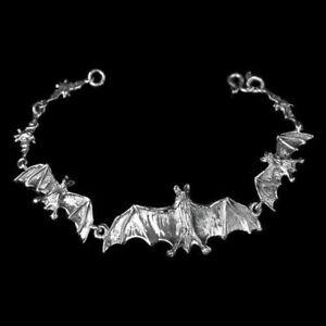 Fledermaus-Armkette-Silber-Laenge-17-79-cm-Gothic-Schmuck-NEU