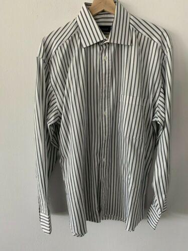 Canali Solid White Gray Collar Dress Shirt Mens Si