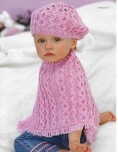Détails Sur Babybébéfille Câble Poncho Et Béret Tricot Motif 16 26 Dk 184 Afficher Le Titre Dorigine