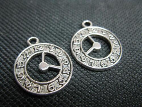 2 métal pendentif Horloge 18mm argenté perles 9920