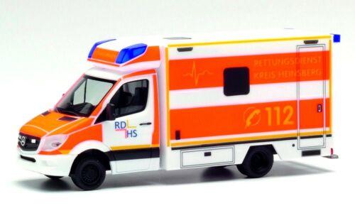 HERPA Modell 1:87//H0 MB Sprinter`13 Fahrtec RTW Rettungsdienst Heinsberg #094962