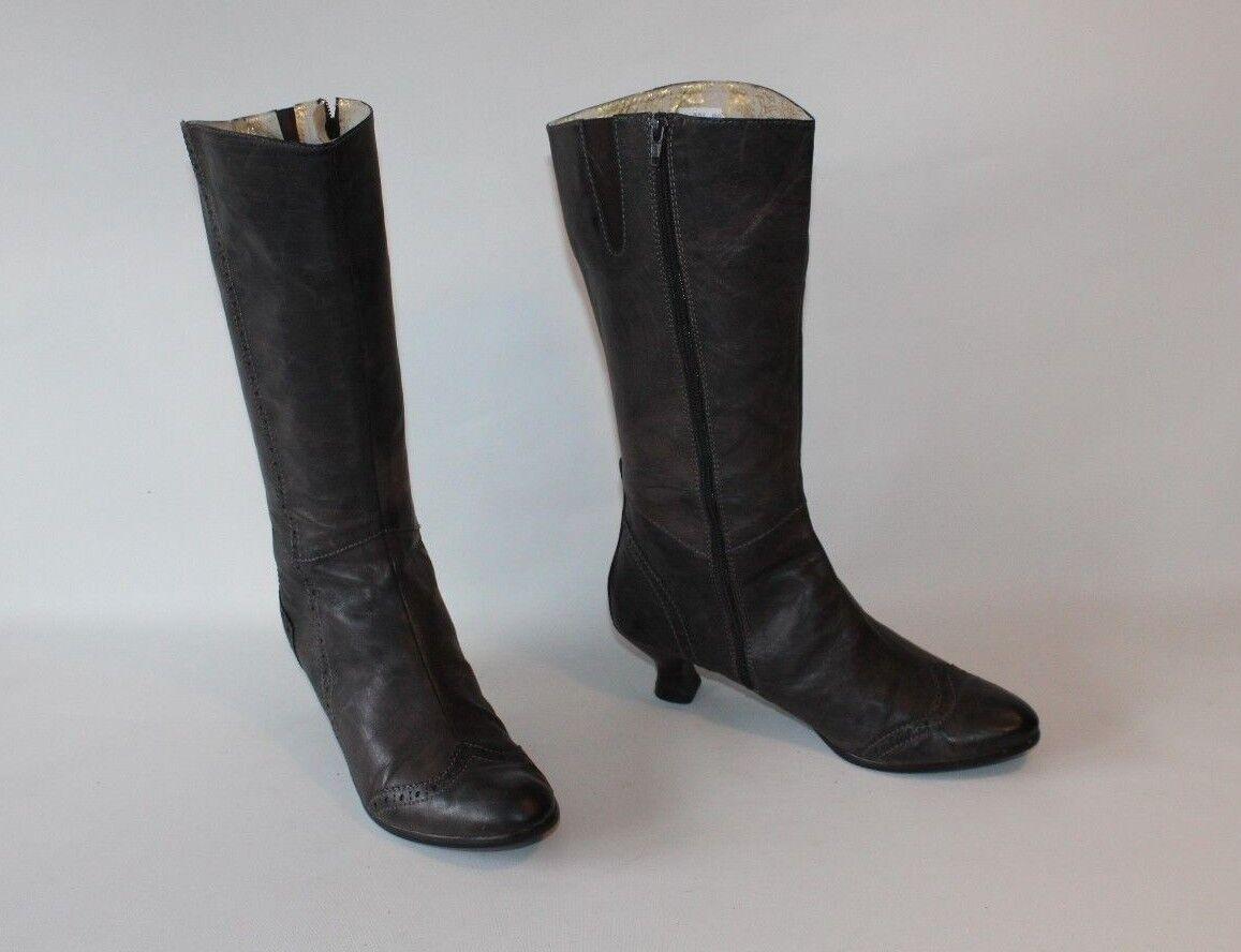 Brown Calf Grey Leather VAGABOND Zip Pointed Victorian HeeL Mid Calf Brown Boots Sz 7.5 /41 375753
