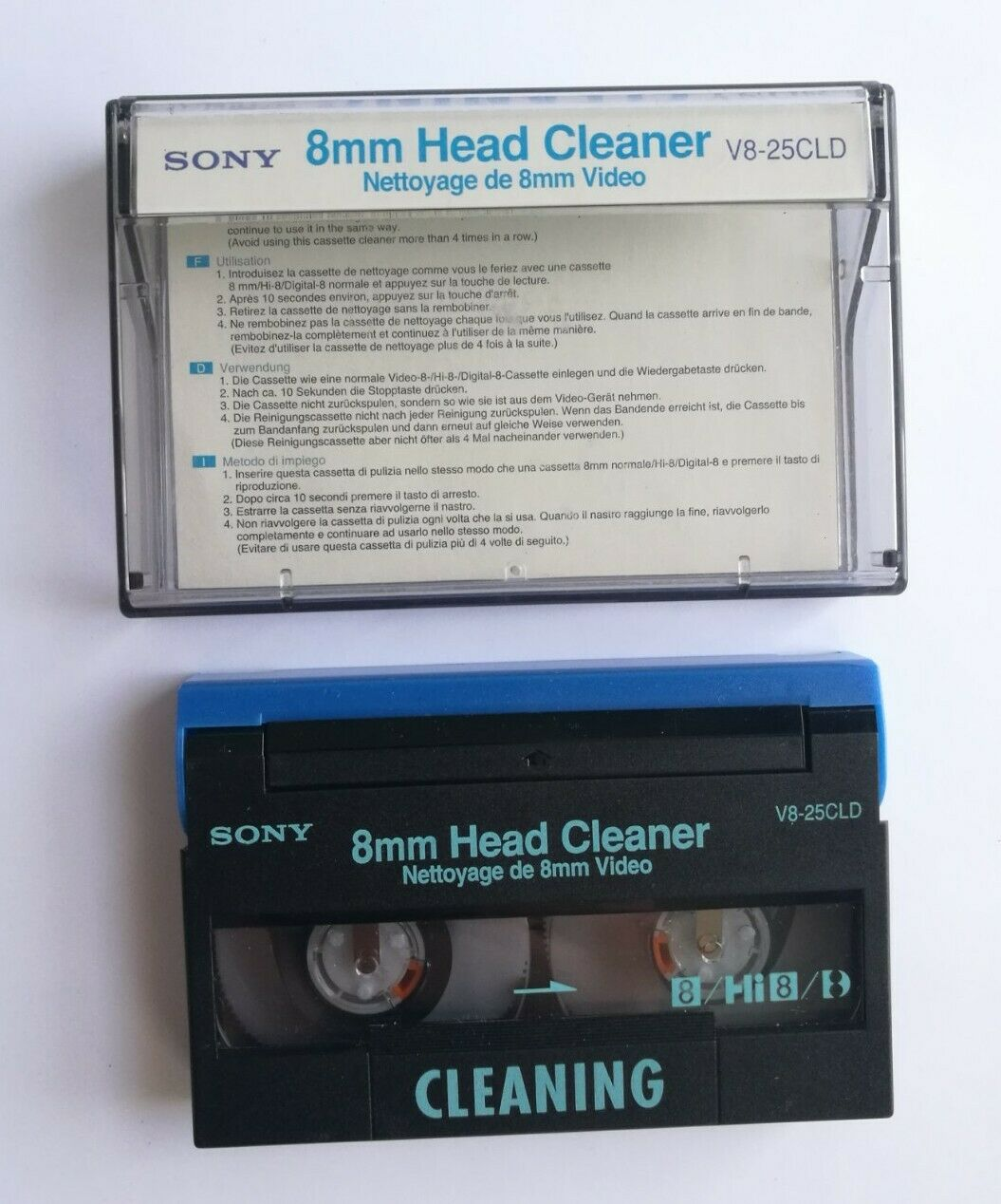 SONY V8-25CLD 8mm Hi8 Digital8 Video Head Cleaner Camcorder Cleaning Tape