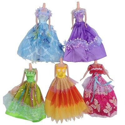 Retro Fancy Handmade Wedding Dress Fancy Party Gown Costume For Barbie Doll 5Pcs