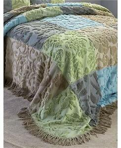 CHENILLE HOMESPUN LOOK PATCHWORK FRINGED BEDSPREAD F/Q OR KING AND/OR SHAM