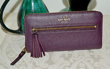NWT $218 Kate Spade Spencer Court Lacey Leather Wallet Mahogany Tassel