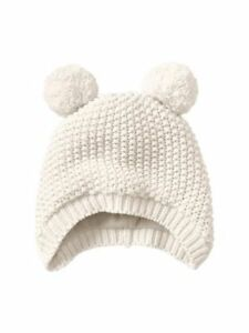 fbe5ee91655 BABY GAP S M Bear Hat Ivory Cable Knit Beanie Sweater Hat Ivory ...
