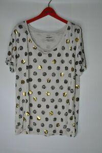 Lane-Bryant-T-Shirt-Tan-Black-Circle-Gold-Short-Sleeve-Scoop-Neck-Women-Sz-14-16