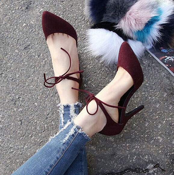 Fashion side hollow ankle strap high heel pointy toe work casual womens shoes sz