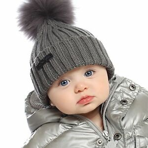 SALE! AKA Co. New Baby Boys Girls Grey Knit Beanie Raccoon Fur Pom ... 0281f27fac9