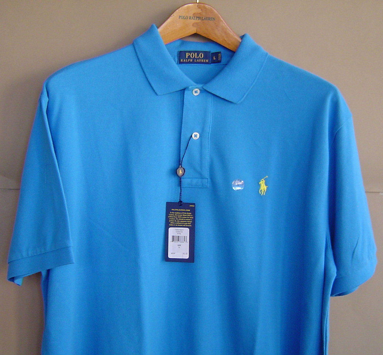 NWT  POLO RALPH LAUREN Mens L CLASSIC FIT MESH SHIRT Spa Royal bluee Cotton