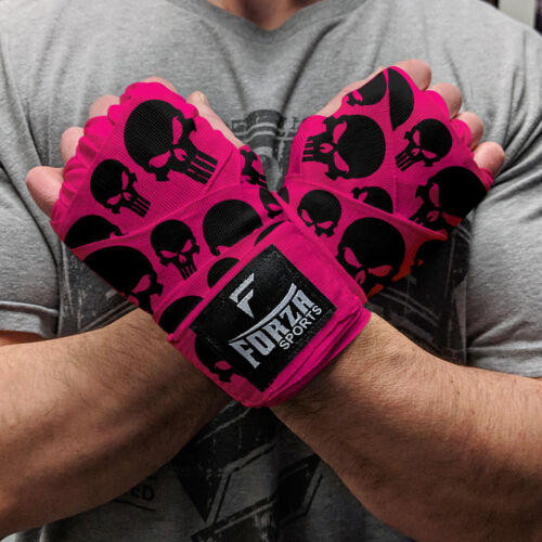 "Forza Sports 180/"" Mexican Style Boxing and MMA Handwraps Skulls Hot Pink"