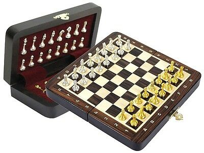 """Rosewood Travel Magnetic Chess Set 9"""" Folding + Metal Chess Pieces + Notations"""