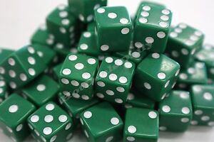 WHOLESALE-LOT-OF-50-GREEN-DICE-WHITE-PIPS-6-SIDED-D6-DIE-GAME-SIX-1-2-034-12mm