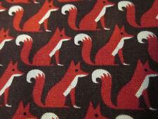FOX RUSTY BROWN FOXY FOXES COTTON FABRIC FQ