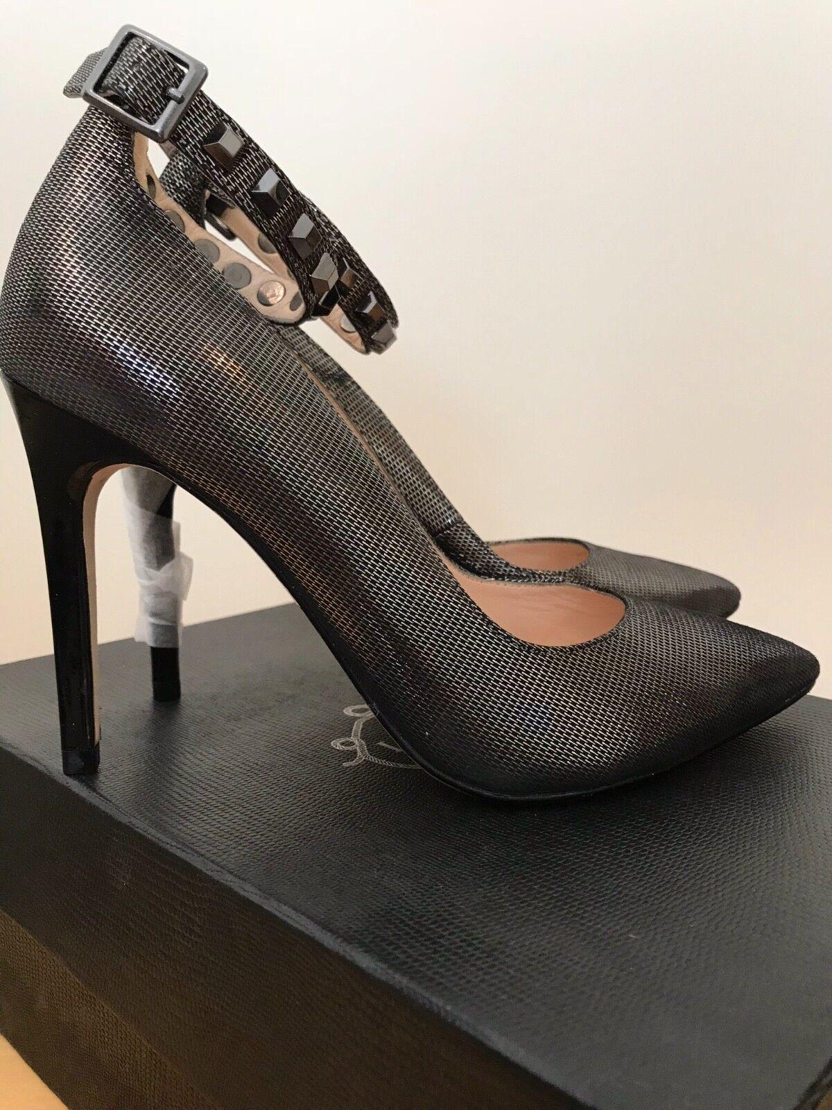 NUOVO Lucy Choi Nero/Grigio Cuoio Scarpe metallico, dettaglio cinturino alla caviglia, taglia 4 (37)