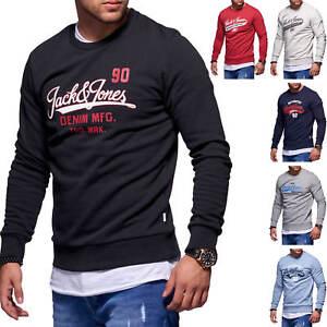 Jack-amp-Jones-Hommes-Sweatshirt-O-Neck-Label-Print-Chemise-Manches-Longues-Homme-Chemise-Shirt