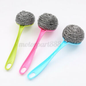 Kitchen-Handle-Stainless-Steel-Wire-Ball-Brush-Washing-Dish-Pot-Cleaning