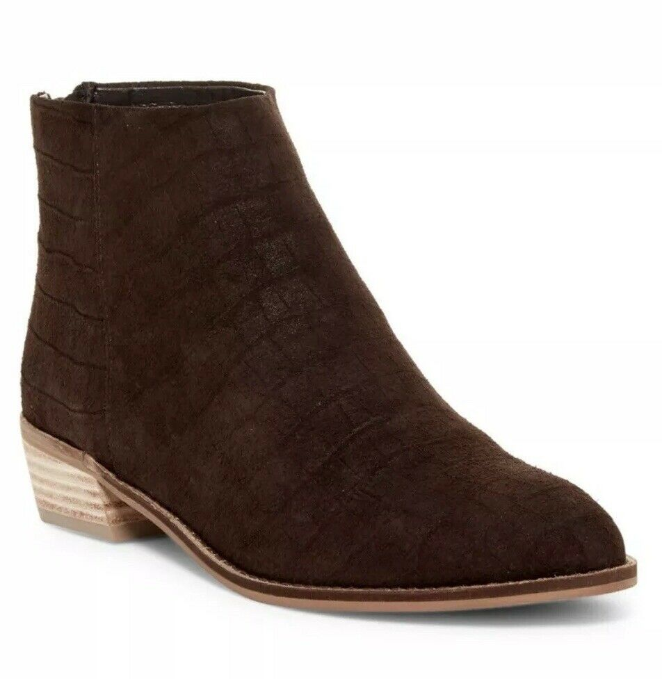 NEW Kelsi Dagger Cumberland Croc Embossed Suede Bootie Size 7.5 Chocolate Brown