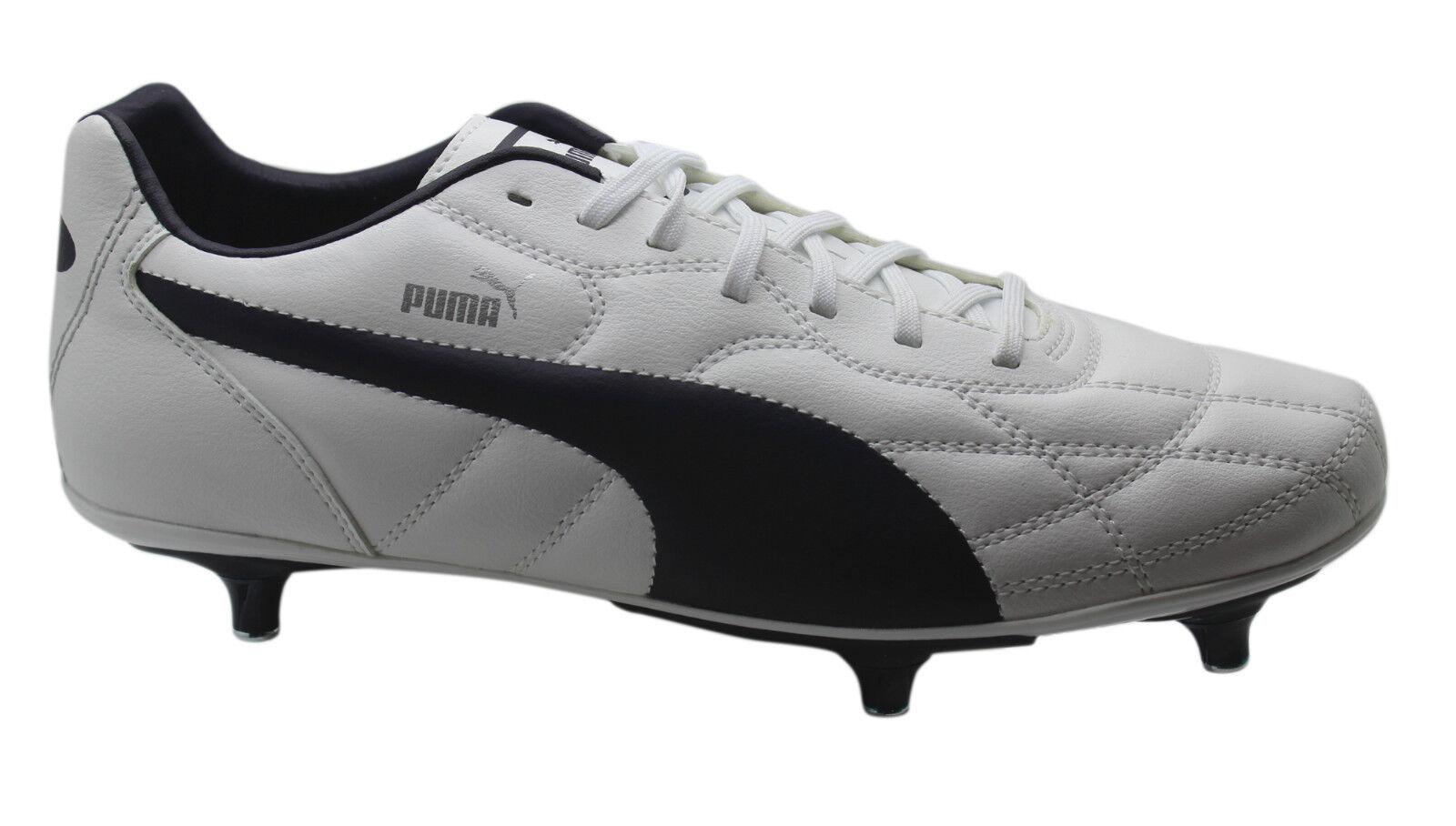 Puma Classico SG Soft Ground Mens Football Boots White Navy bluee 103351 03 U14