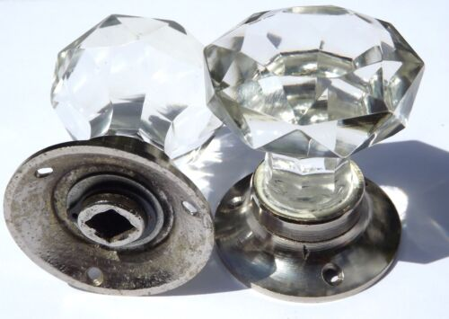 vintage classic style Cut glass mortice sparkling door knobs chrome base pairs