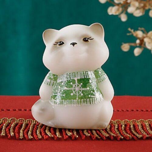 Fenton Christmas Raccoon Figurine with Holiday Sweater Art Glass USA Signed NEW