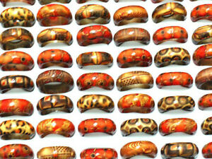 100pcs Wholesale Jewelry ring Lots Mixed Fashion Wooden women mens finger Rings