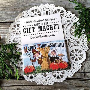 DecoWords-Thanksgiving-PILGRIM-ART-Fridge-MAGNET-Pumpkins-2-034-x3-034-Cute-Gift-USA