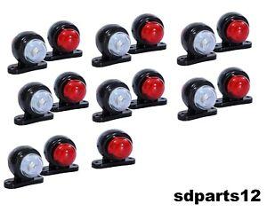 15-X-12V-Rouge-Blanc-Petit-LED-Feux-de-Gabarit-Camion-Caravane-Remorques
