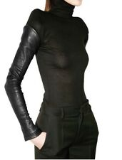 GIVENCHY BLACK Puff Shoulder Leather Sleeve TUNIC SWEATER TOP 42 Rockstar!