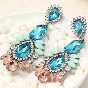 Handmade-Multi-Crystal-Ear-Drop-Dangle-Stud-Ancient-Silver-long-Tassels-Earrings