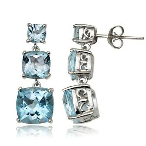 Sterling-Silver-6-8ct-Blue-Topaz-Three-Stone-Cushion-Cut-Drop-Earrings
